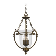 Crystorama Lighting Pendant Antique Brass Pendant Light with Bowl / Dome Shade