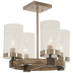 Minka Lavery Bridlewood Stone Grey with brushed Nickel Semi-Flushmount Light