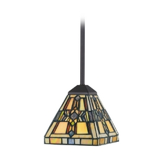 Quoizel Lighting Mini-Pendant Light with Multi-Color Glass TFFT1501VB