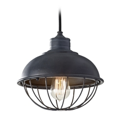 Retro Style Mini-Pendant Light with Bulb Cage Shade