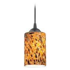 Design Classics Gala Fuse Matte Black LED Mini-Pendant Light with Cylindrical Shade