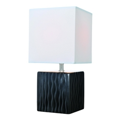Lite Source Lighting Kube Black Table Lamp with Square Shade