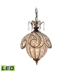 Elk Lighting Jubilee Spanish Bronze LED Mini-Pendant Light with Bowl / Dome Shade