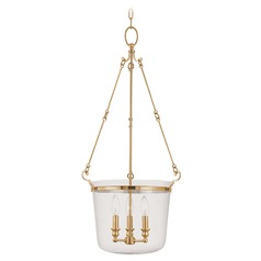 Drum Pendant Light with Clear Glass in Aged Brass Finish
