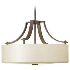 Modern Pendant Light with White Glass in Corinthian Bronze Finish