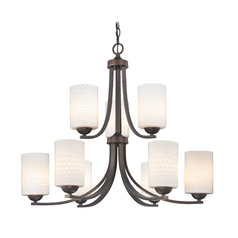Two Tier Bronze Chandelier with White Art Glass Cylinder Shades