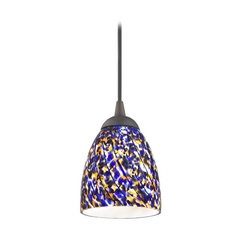 Design Classics Lighting Modern Mini-Pendant Light with Blue Glass 582-220 GL1009MB