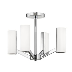Modern LED 4 Light Semi-Flush- Chrome Finish