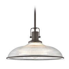 Nautical Pendant Light Bronze Prismatic Glass 14.38-Inch Wide