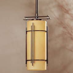 Hubbardton Forge Lighting Paralline Dark Smoke Mini-Pendant Light with Cylindrical Shade