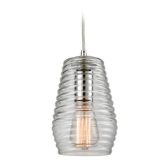 Elk Lighting Ribbed Glass Polished Chrome Mini-Pendant Light with Fluted Shade