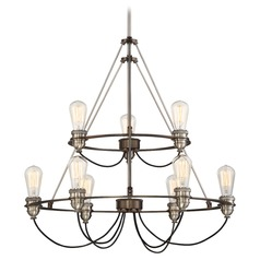 Minka Uptown Edison Harvard Court Bronze with Pewter Chandelier