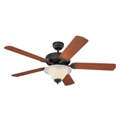 Ceiling Fan with Light with White Glass in Roman Bronze / White Faux Alabaster Finish