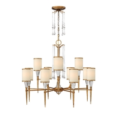 Chandelier with Beige / Cream Shades in Brushed Bronze Finish