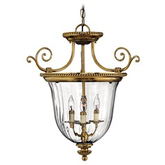 Pendant Light with Clear Glass in Burnished Brass Finish
