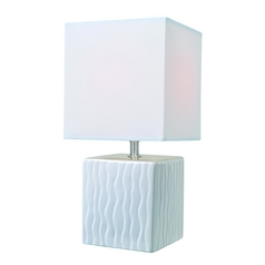 Lite Source Lighting Kube White Table Lamp with Square Shade