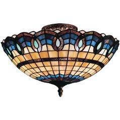 Tiffany ceiling lights destination lighting tiffany semi flushmount light in classic bronze finish aloadofball Image collections