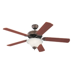 Ceiling Fan with Light with White Glass in Tuscan Bronze / White Faux Alabaster Finish