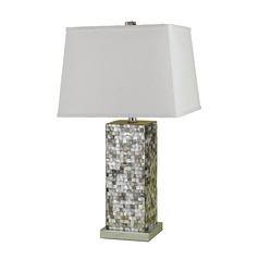 Modern Table Lamp with White Shade in Mosaic Finish