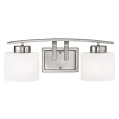 Bathroom Wall Light with White Oval Glass - Two Lights
