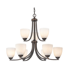 Bronze Chandelier with White Art Glass Bell Shades and Nine Lights