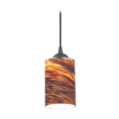 Design Classics Lighting Modern Mini-Pendant Light with Brown Art Glass 582-220 GL1023C