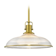 Nautical Brass Pendant Light Prismatic Glass 14.38-Inch Wide