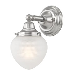 Prismatic Glass Schoolhouse Sconce Satin Nickel 1 Light 5 Inch Width