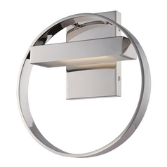 Modern LED Sconce Wall Light with White Glass in Polished Nickel Finish