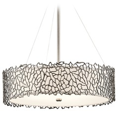 Kichler Lighting Silver Coral Classic Pewter Pendant Light with Drum Shade