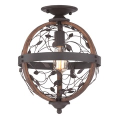 Industrial Edison Bulb Semi-Flushmount Light Bronze 12-Inch by Quoizel Lighting