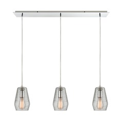 Elk Lighting Ribbed Glass Polished Chrome Multi-Light Pendant with Fluted Shade