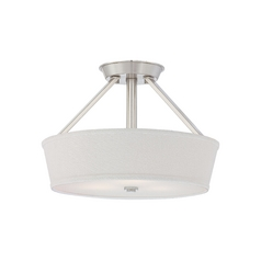 Modern Semi-Flushmount Light with White Shade in Brushed Nickel Finish