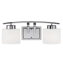 Design Classics Lighting Chrome Bathroom Wall Light with White Oval Glass - Two Lights  1382-26