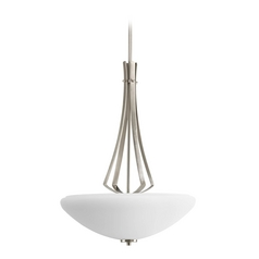 Progress Modern Pendant Light with White Glass