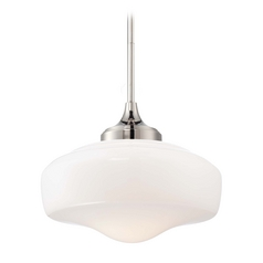 Schoolhouse Pendant Light with White Glass in Polished Nickel Finish