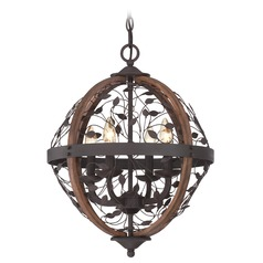 Quoizel Chamber Darkest Bronze Pendant Light with Globe Shade