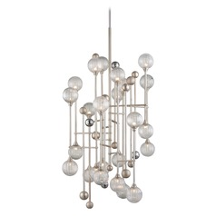 Mid-Century Modern Pendant Light Silver Leaf / Chrome Majorette by Corbett Lighting