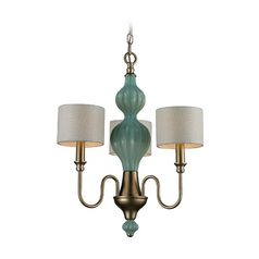 Elk Lighting HGTV Drum Shade Mini-Chandelier and Green Glass Center 31363/3