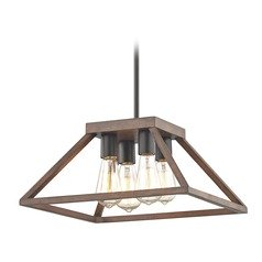 Industrial Pendant Light with Bronze Tapered Square Cage Shade