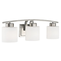 Bathroom Wall Light with White Oval Glass - Three Lights