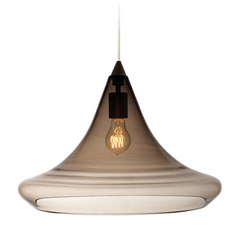 Modern Pendant Light with Grey Glass in Antique Bronze Finish
