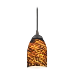 Design Classics Lighting Modern Mini-Pendant Light with Brown Art Glass 582-220 GL1023D