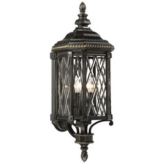 Minka Bexley Manor Black with Gold Outdoor Wall Light