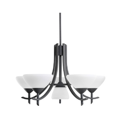 Kichler Lighting Kichler Modern Chandelier with White Glass in Distressed Black Finish 1676DBK