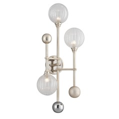 Mid-Century Modern Sconce Silver Leaf / Chrome Majorette by Corbett Lighting