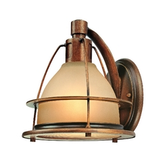Sconce Wall Light with Amber Glass in Sunset Bronze Finish