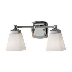 Feiss Lighting Bathroom Light with White Glass in Polished Nickel Finish VS19902-PN