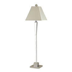 Modern Floor Lamp with Beige / Cream Shade in Chrome Finish
