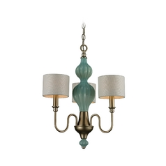 Mini-Chandelier with White Shades in Aged Silver Finish